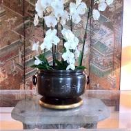 Brûle parfum Japonais en bronze, gravé rempli à l'argent et or