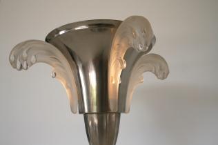 Lampe en Inox et Verre moulé - Création des Années 1970