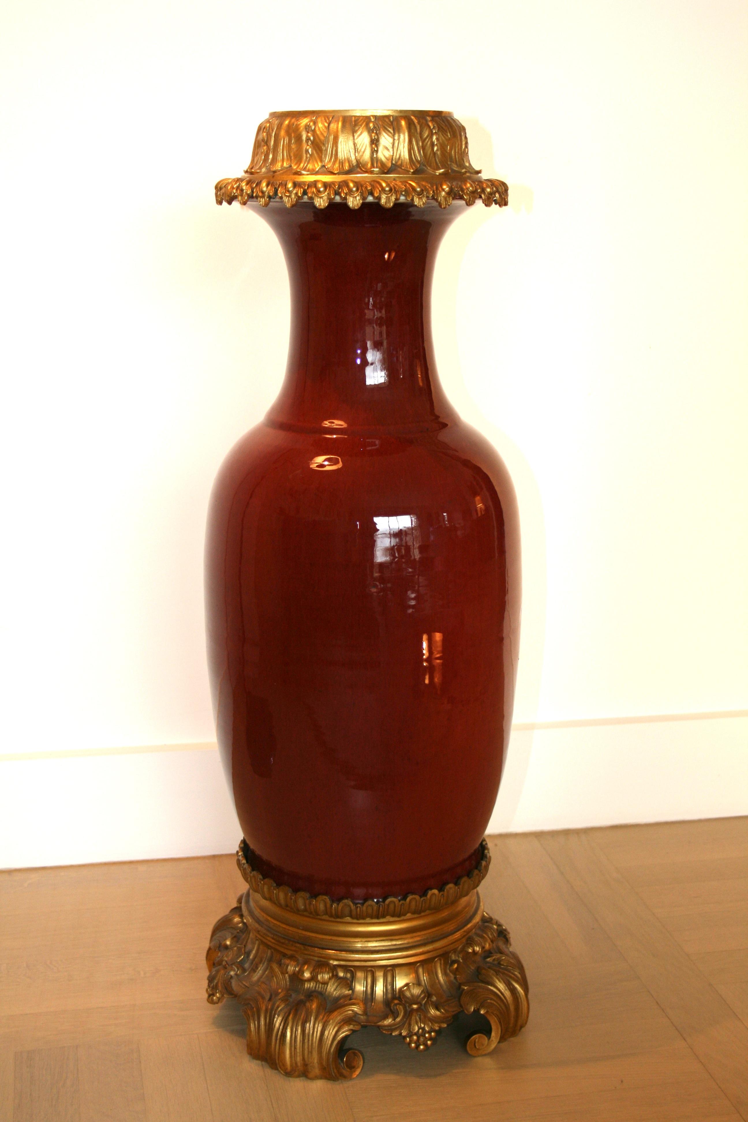 Vase d coratif en porcelaine de la chine dite de couleur - Couleur rouge sang de boeuf ...
