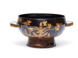 Grand bol à eau laqué noir de forme ronde, à décors d'or - Japon Meiji