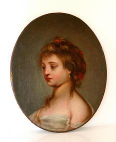 Peinture, Huile Sur Toile, Portrait Jeune Fille, Fin 18ème