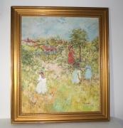 René Sinicki, Huile sur toile signée, La cueillette