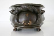 Jardinière en céramique laquée brun et turquoise, Fin 19ème