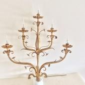 Applique murale à 5 branches en fer forgé doré, fin 19ème - début 20ème