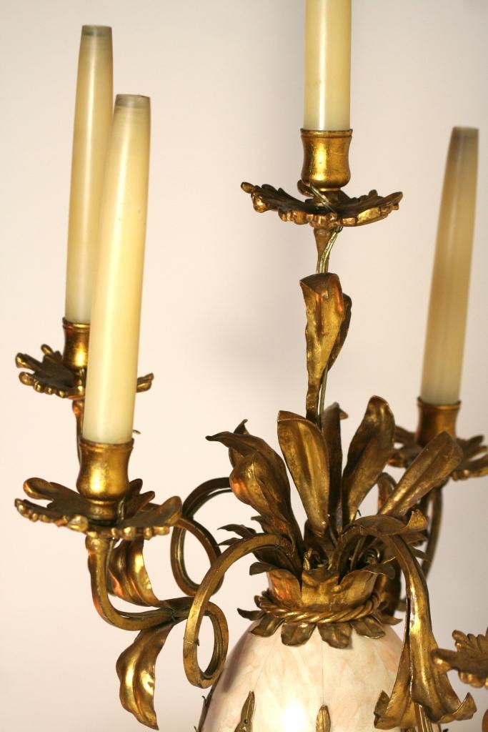 Paire de Candélabres montés en lampes, XXème vers 1950, dans le goût de Jansen