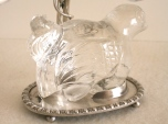 Paire de bougeoirs en métal argenté et cristal de roche - Vers 1950, Style Baguès