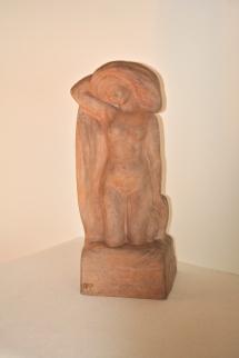 Sculpture en terre cuite, Baigneuse nue, signée Alfred Jean Halou, vers 1910/20