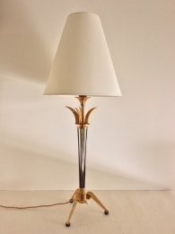 Lampe de table, bronze doré et canon fusil, Italien, Années 1960/1970