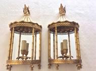 Paire de lanternes en appliques murales, en bronze doré, Attribuées Aux Ateliers Jansen