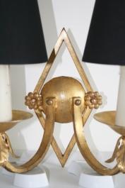Paire d'appliques en fer doré - Années 1940
