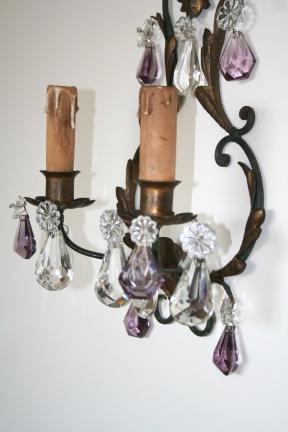 Paire d'Appliques en fer laqué et cristaux - Travail Français 19ème