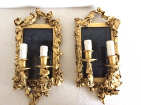 Wall sconces, golden brass - Decorator Creation of the 1970s