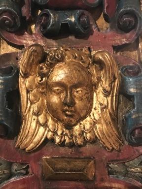 Très grand cadre en bois doré, polychromé - Italie 16ème, (219 cm) Renaissance