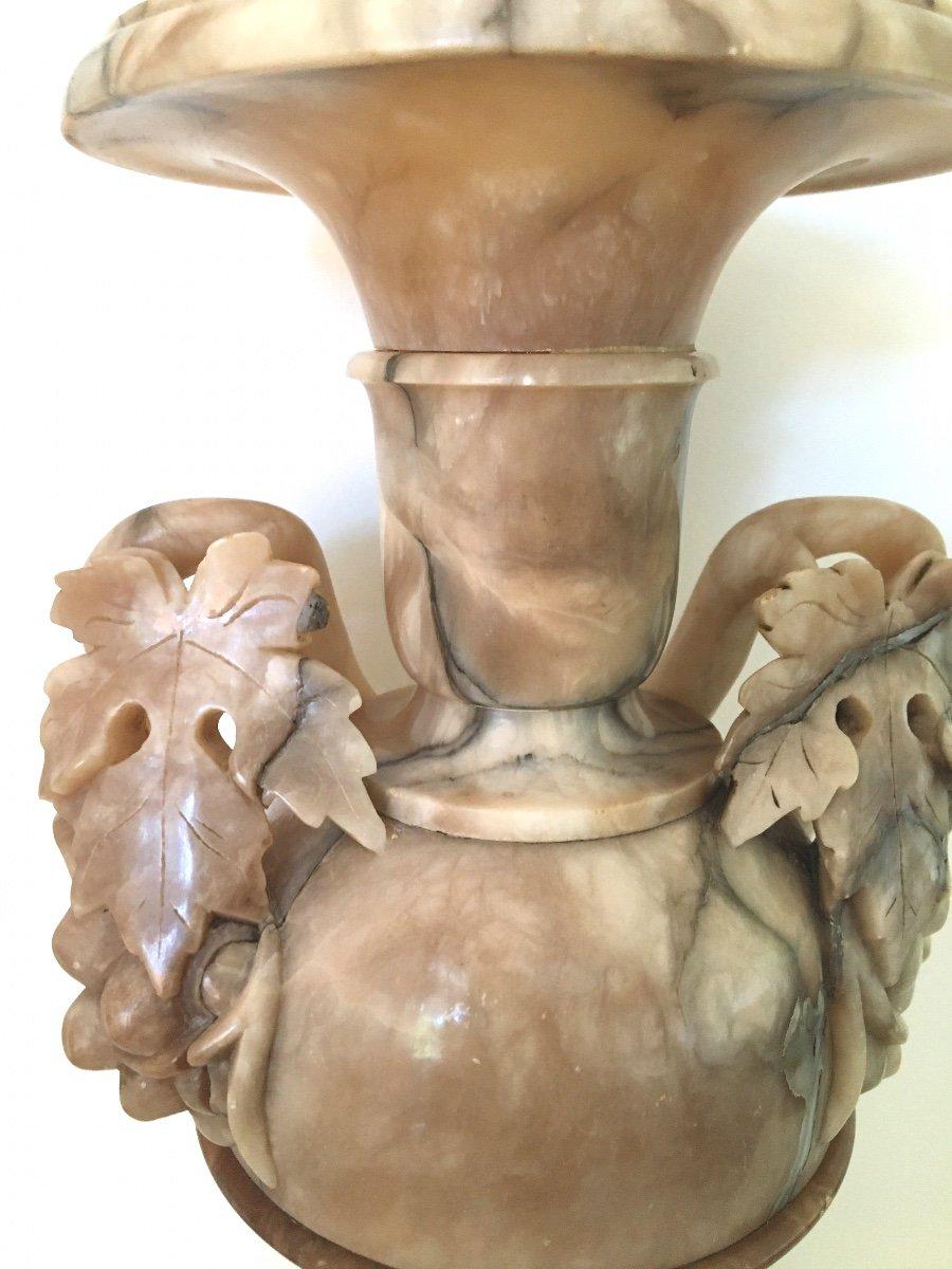 Pair Of Italian Alabaster And Jaspe Vases, 19th C.