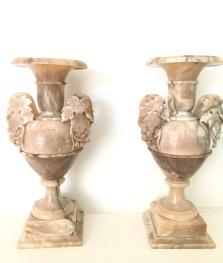 Paire de vases en Albâtre et Jaspe, Italie, 19ème